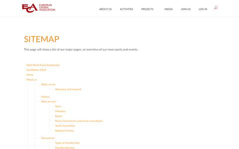Screenshot of Site Map Page europeanchoralassociation.org - Sitemap | European Choral Association - captured Sept. 29, 2018
