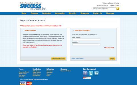Screenshot of Login Page successbydesign.com - Customer Login  | Success By Design - captured Oct. 6, 2014