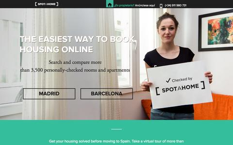 Screenshot of Home Page spotahome.com - Spotahome - Book online your next home in Madrid and Barcelona - captured Sept. 23, 2014