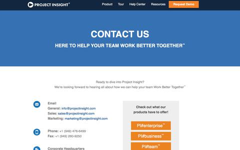 Screenshot of Contact Page projectinsight.net - Project Insight | Project Management Software Corporate Headquarters Contact Us - captured July 25, 2018