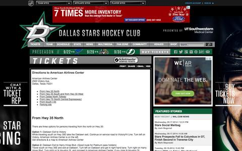Screenshot of Maps & Directions Page nhl.com - Dallas Stars Tickets - Dallas Stars - Tickets - captured Sept. 19, 2014