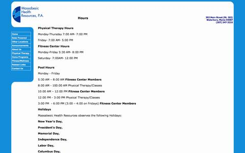 Screenshot of About Page Hours Page mhrpt.com - Massabesic Health Resources - captured June 22, 2016