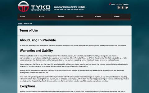 Screenshot of Terms Page tyko.ca - Tyko Energy Services | Terms of Use - captured Oct. 6, 2014