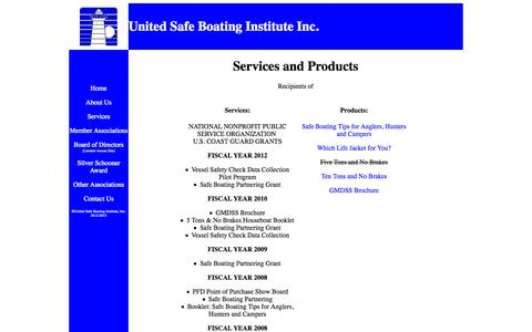 Screenshot of Services Page usbi.org - United Safe Boating Institute Inc. - Services and Products - captured Oct. 7, 2014