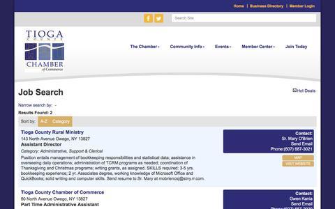 Screenshot of Jobs Page tiogachamber.com - Job Search - Tioga County Chamber of Commerce,NY - captured April 24, 2017