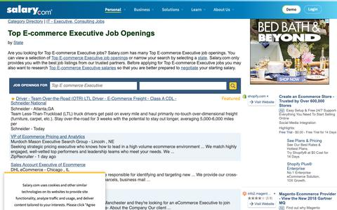 Screenshot of Jobs Page salary.com - Top E-commerce Executive Job Openings | Salary.com - captured Oct. 26, 2018