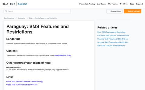Paraguay: SMS Features and Restrictions – Knowledgebase