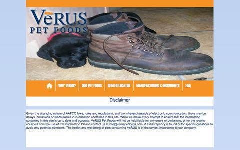 Screenshot of Terms Page veruspetfoods.com - Verus Pet Foods - Legal - captured Feb. 27, 2016