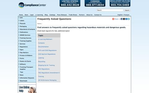 Screenshot of FAQ Page thecompliancecenter.com - FAQs | ICC - captured Sept. 22, 2014
