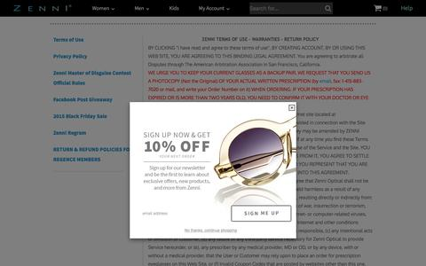 Screenshot of Terms Page zennioptical.com - Zenni Optical - captured Dec. 3, 2015
