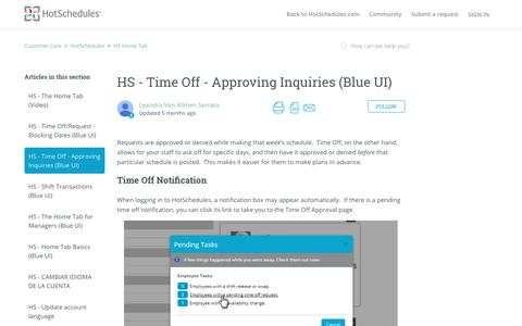 Screenshot of Support Page hotschedules.com - HS - Time Off - Approving Inquiries (Blue UI) – Customer Care - captured March 8, 2018