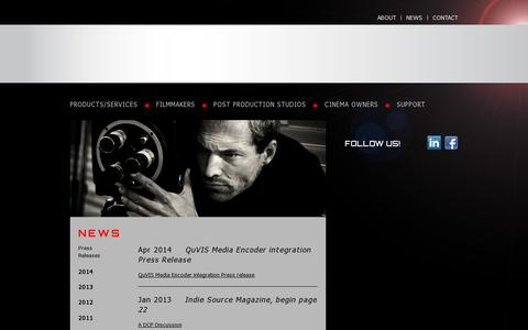 Screenshot of Press Page quvis.com - QuVIS - captured July 19, 2014