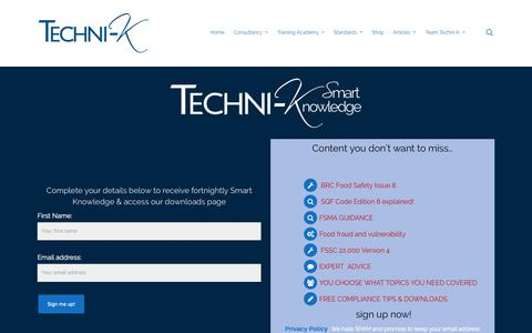 Screenshot of Signup Page techni-k.co.uk - Techni-K Smart Knowledge - Food technical advice & Learning - Sign Up! - captured Oct. 18, 2018