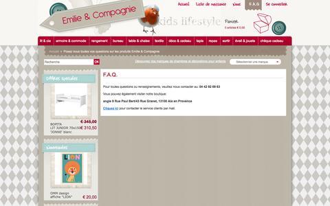 Screenshot of FAQ Page emilieetcompagnie.com - Posez nous toutes vos questions sur les produits Emilie & Compagnie - captured Oct. 2, 2014
