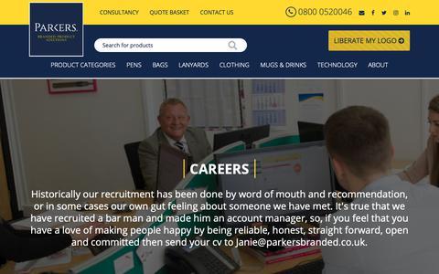 Screenshot of Jobs Page parkersbranded.co.uk - Job - Careers | Parkers Branded - captured Oct. 19, 2018