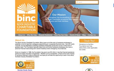 Screenshot of About Page bincfoundation.org - Learn more about the Binc Foundation, Our Charity and Purpose - captured Oct. 4, 2014