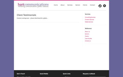 Screenshot of Testimonials Page hart-communications.com - Hart Communications - Marketing, Communications, Public Relations - with more than 20 years experience in our field. Homepage - Welcome - captured Sept. 29, 2014