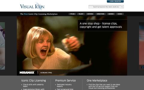 Screenshot of Home Page visual-icon.com - Iconic Film Clip Licensing Marketplace | Visual Icon - captured Jan. 26, 2015