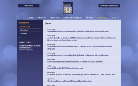 Screenshot of Press Page sicounsel.com - News | Fee-Only | Financial Advisor | Wealth Management | Divorce Financial Planning | Westchester, NY | Samalin Investment Counsel - captured Oct. 4, 2014