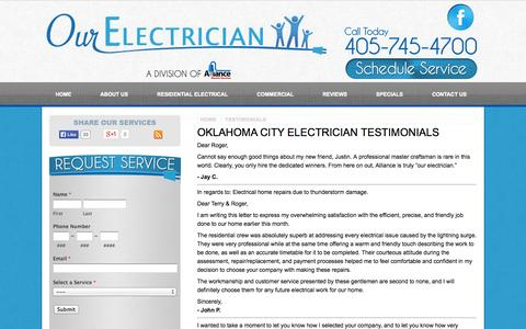 Screenshot of Testimonials Page ourelectrician.com - Oklahoma City Electrician Testimonials | Reviews for Our Electrician - captured Oct. 4, 2014