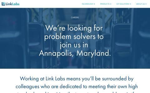 Screenshot of Jobs Page link-labs.com - Careers - Link Labs - captured Dec. 10, 2015