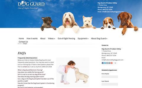 Screenshot of FAQ Page hvdogguard.com - Dog Fence Middletown NY   Dog Fencing Goshen   Electric Dog Fences Newburgh   Dog Fence Kingston   Hudson Valley Dog Guard    Dog Guard of Hudson Valley - captured Oct. 5, 2014