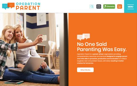 Screenshot of Home Page operationparent.org - Operation Parent   It's Personal to Us   Education, Support, & Hope for Parents - captured Oct. 19, 2018