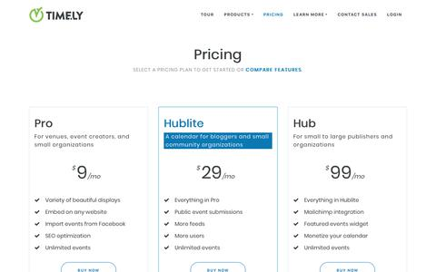 Screenshot of Pricing Page time.ly - Pricing - Timely - captured May 24, 2018