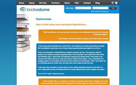 Screenshot of Testimonials Page bookvolume.com - Testimonials «  BookVolume - captured Sept. 30, 2014