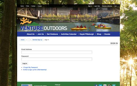 Screenshot of Login Page ventureoutdoors.org - Member Sign In - captured Nov. 5, 2017