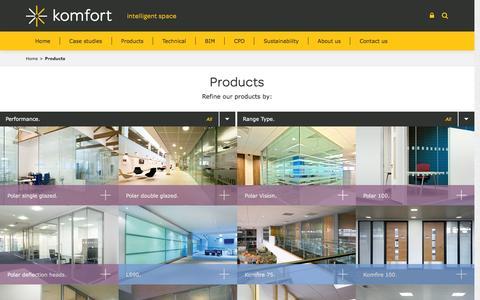 Screenshot of Products Page komfort.com - Products Archive - komfort komfort - captured Feb. 12, 2016