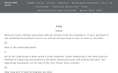 Screenshot of FAQ Page memoriesmade.ca - FAQ - Memories Made Custom - captured Sept. 20, 2018