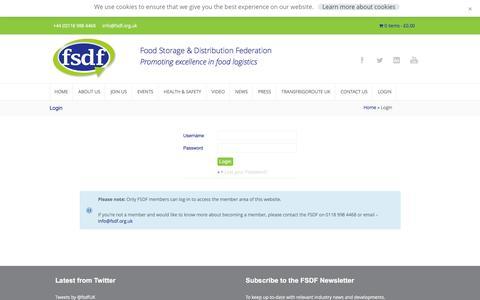Screenshot of Login Page fsdf.org.uk - Login - Food Storage & Distribution Federation - captured Feb. 13, 2016
