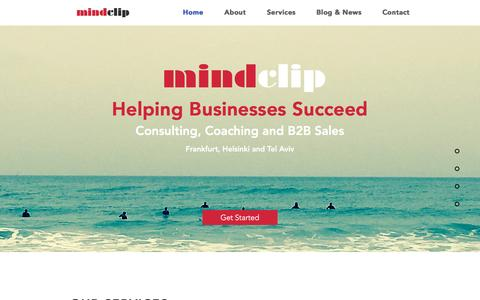 Screenshot of Home Page mindclip.com - mindclip coaching, consulting and accelerating startups to success - captured Nov. 29, 2016