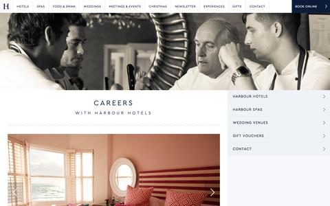 Screenshot of Jobs Page harbourhotels.co.uk - Careers & Hotel/Spa/Restaurant Job Vaccanies at Harbour Hotels - captured Sept. 22, 2018