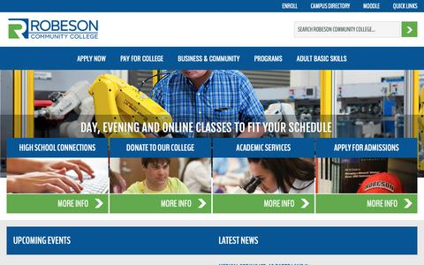 Screenshot of Home Page robeson.edu - Robeson Community College : Robeson Community College - captured Nov. 17, 2018