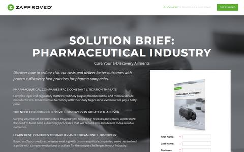 Screenshot of Landing Page zapproved.com - Zapproved   Solution Brief: Pharmaceutical Industry - captured May 21, 2018