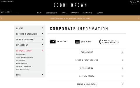 Screenshot of Privacy Page Jobs Page Terms Page bobbibrowncosmetics.com - Customer Service - Corporate | BobbiBrown.com - captured March 13, 2019