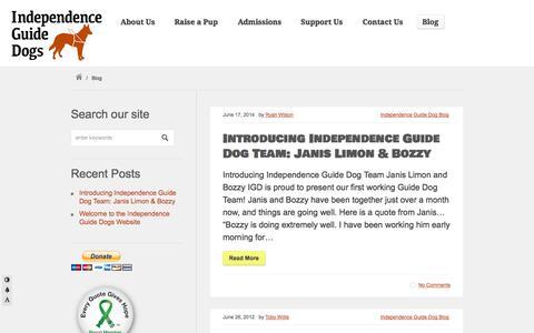 Screenshot of Blog igdogs.org - Blog «  Independence Guide Dogs - captured Oct. 6, 2014