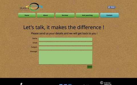Screenshot of Contact Page skante-tz.com - contact us - captured Nov. 15, 2016