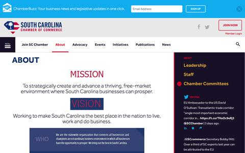Screenshot of About Page scchamber.net - About | South Carolina Chamber of Commerce - captured Oct. 23, 2017