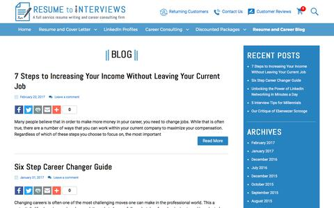 Screenshot of Blog resumetointerviews.com - The resume blog provides all the career advice needed to get the job you want - captured July 20, 2017