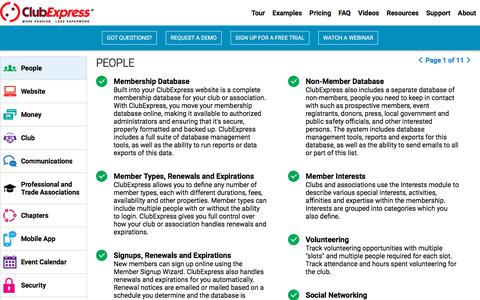 Screenshot of Team Page clubexpress.com - A quick tour of our features. Features specifically for people, your website, mobile app, commmunications, club, chapters and more. See how much better you can run your organization - ClubExpress - Club and Association Management Software - captured July 18, 2018