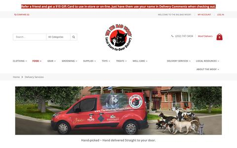 Screenshot of Services Page thebigbadwoof.com - Delivery Services - captured Oct. 4, 2018