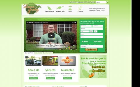 Screenshot of Home Page yourlawnjockey.com - Lewisville Lawn Care Flower Mound Lawn Care Highland Village Lawn Care Service - captured Oct. 2, 2014