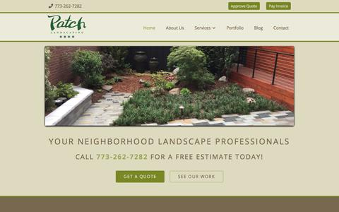 Screenshot of Home Page patchlandscaping.com - Chicago Landscaping and Snow Removal Services | Patch - captured July 16, 2017