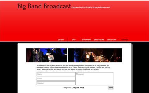 Screenshot of Contact Page bigbandbroadcast.com - big-band-broadcast   CONTACT - captured Feb. 18, 2018