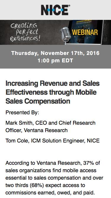 [Webinar] Increasing Revenue and Sales Effectiveness through Mobile Sales Compensation | NICE