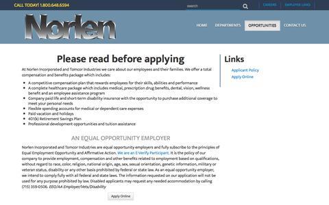 Screenshot of Jobs Page norlen.com - Norlen | Job Opportunities - captured Nov. 30, 2016