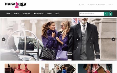 Screenshot of Home Page handbagsabouttown.com - Handbags UK Store - Buy Michael Kors Mercer, Coach 1941, Prada Shoulder Bags at discount prices ✦ Handbagsuk - captured Jan. 31, 2018